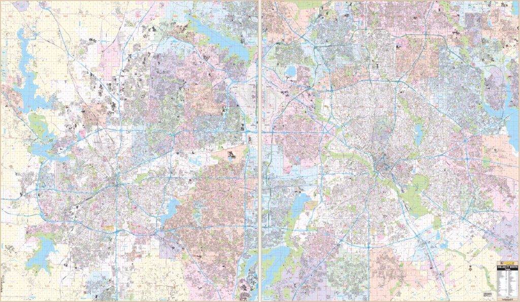 Dallas-Fort Worth, TX Combo Wall Map