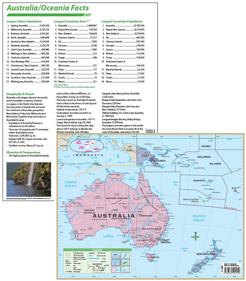 Australia Continent Map with facts – KAPPA MAP GROUP