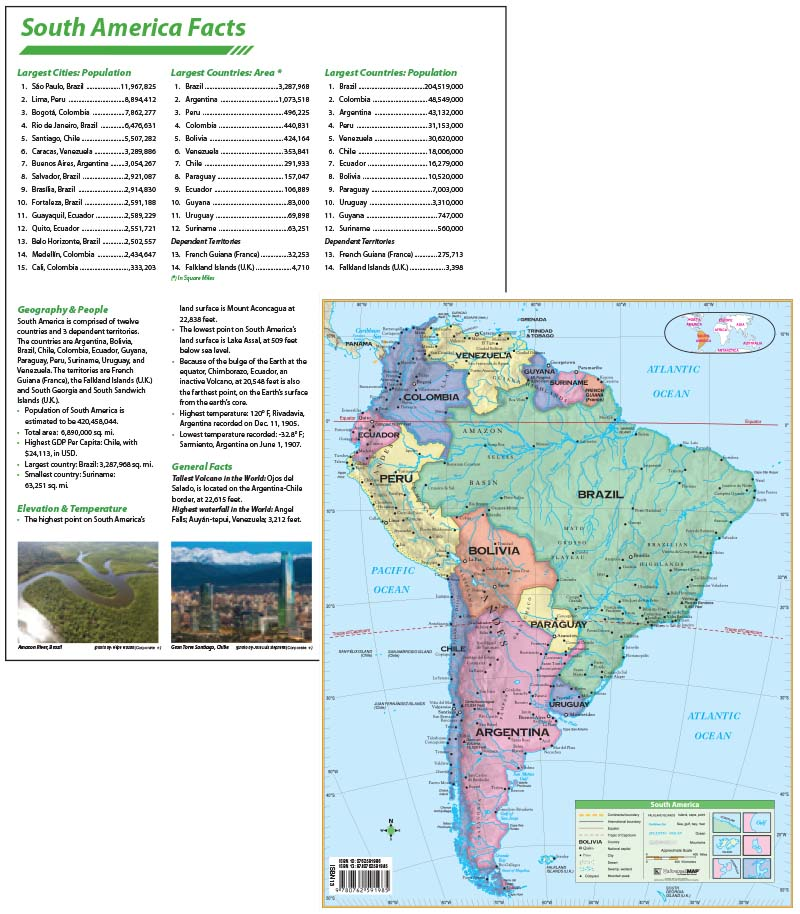 South America Continent Map with facts – KAPPA MAP GROUP