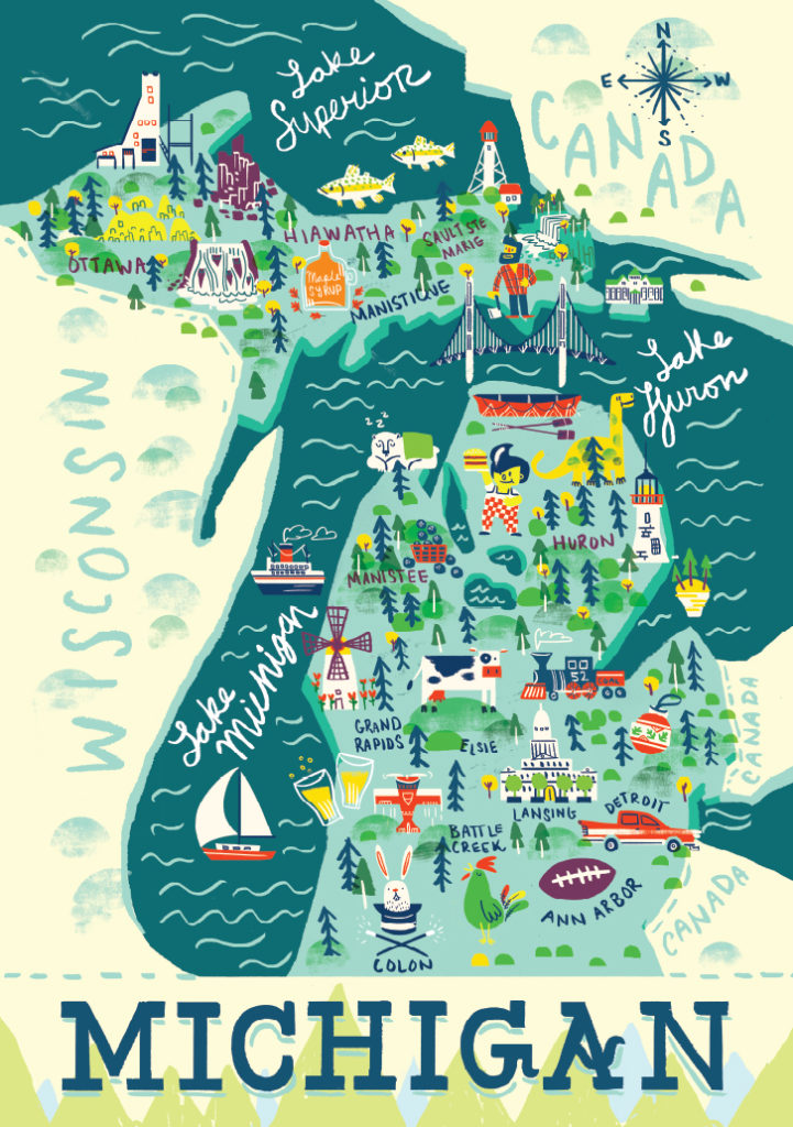Michigan Illustrated Map