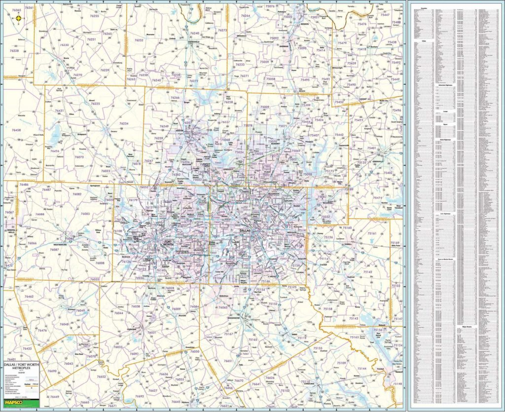 North Central Texas w/ ZIP Codes Wall Map – KAPPA MAP GROUP on