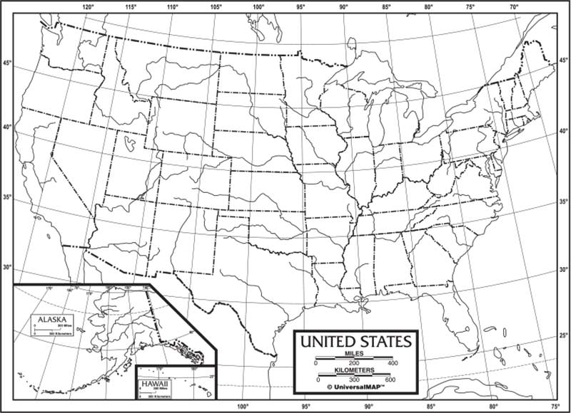 US Outline Map 50-Pack (laminated) 8.5″x11″ – KAPPA MAP GROUP