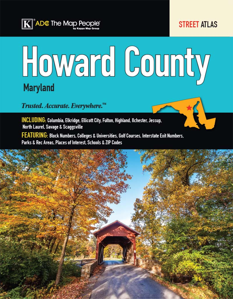 Howard County Md Zip Code Map.Howard County Md Street Atlas Kappa Map Group